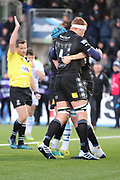 The Warriors players celebrate Glasgow Warriors second row forward Scott Cummings (5) scoring a try  during the Heineken Champions Cup match between Glasgow Warriors and Cardiff Blues at Scotstoun Stadium, Glasgow, Scotland on 13 January 2019.