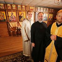 St. Paul Orthodox Church Andrew Albers, from left, Paul Sudduth and Priest Fr. David Bibeau