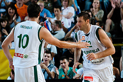 Bostjan Nachbar (L) and Goran Jagodnik of Slovenia at exhibition game between Slovenia and Poland for Primus Trophy 2011Lithuania as part of exhibition games before European Championship L2011on July 23, 2011, in Ljudski Vrt, Ptuj, Slovenia. (Photo by Matic Klansek Velej / Sportida)