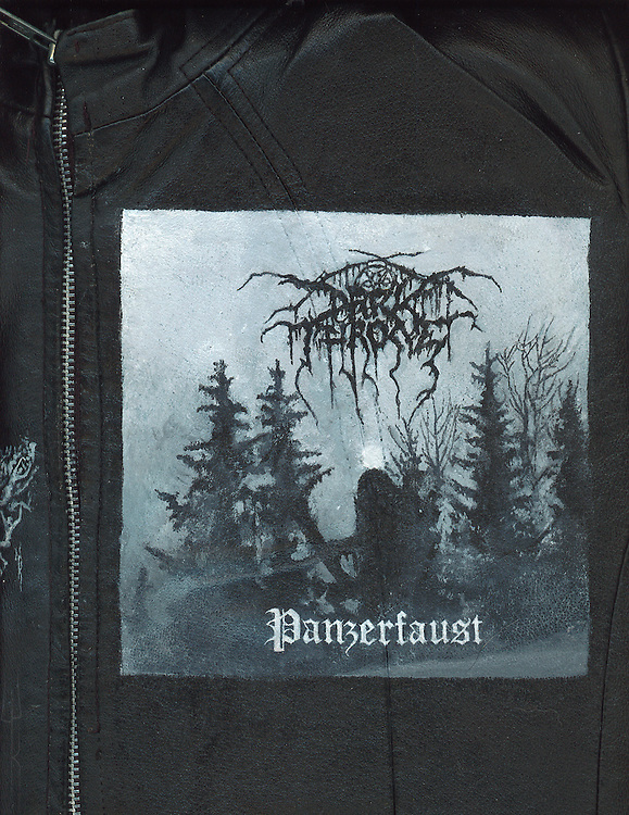 "Acrylic on leather by Worthless. Darkthrone ""Panzerfaust""."