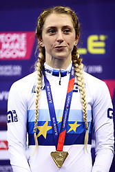 Great Britain's Laura Kenny with her gold medal for the women's elimination race during day four of the 2018 European Championships at the Sir Chris Hoy Velodrome, Glasgow.