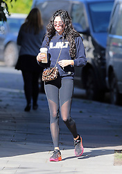 (EXCLUSIVE PICTURES) Singer Eliza Doolittle wearing A.IN.T (Art In Transit) blue hooded top, black sheer leggings and a pair of Nike trainers arriving at a gym in London, UK. 05/10/2016<br /> BYLINE MUST READ : JAMESY/GOTCHA IMAGES<br /> <br /> Copyright by © Gotcha Images Ltd. All rights reserved.<br /> Usage of this image is conditional upon the acceptance <br /> of Gotcha Images Ltd, terms and conditions available at<br /> www.gotchaimages.com