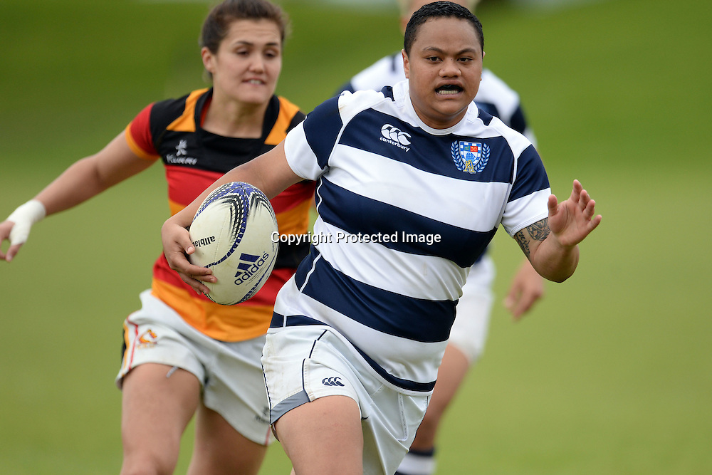 Makineti Hufanga of Auckland Storm in action during the Women's Rugby NPC Semi Final, Auckland Storm v Waikato. Auckland, New Zealand on Saturday 10 October 2015. Copyright Photo: Raghavan Venugopal / www.photosport.nz