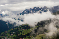 IFTE-NB-007654; Niall Benvie; panorama element; View into the valley around Fliess from Kaunergrat visitor's centre; Austria; Europe; Tirol; horizontal; grey blue green; forest woodland; 2008; July; summer; fog mist rain cloud; Wild Wonders of Europe Naturpark Kaunergrat