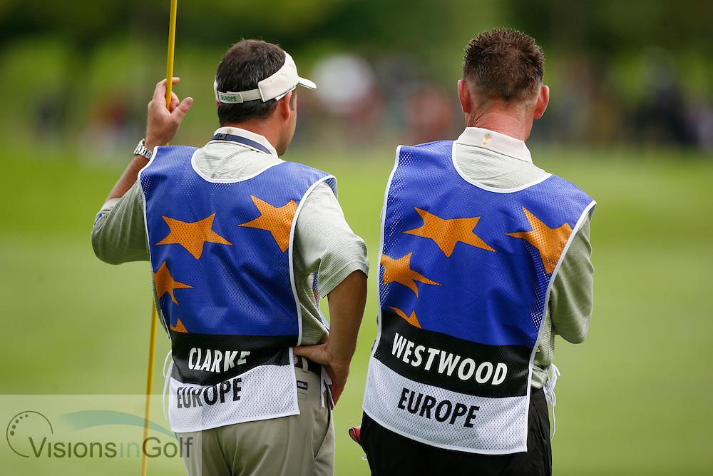 Caddie Billy Foster and Darren Clarke at the Ryder Cup 2006, K Club, Ireland<br /> <br /> Photo credit:  Mark Newcombe / www.visionsingolf.com