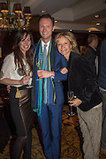 VICTORIA HUGHES; JOHN FRANKLIN; LARA CAZALET, David Campbell Publisher of Everyman's Library and Champagen Bollinger celebrate the completion of the Everyman Wodehouse in 99 volumes and the 2015 Bollinger Everyman Wodehouse prize shortlist. The Archive Room, The Goring Hotel. London. 20 April 2015.