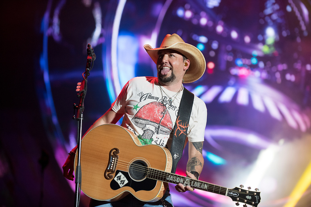 SAN ANTONIO, TX - MARCH 30: Jason Aldean performs at the 2018 NCAA Men's Final Four in the San Antonio Convention Center on March 29, 2018 in San Antonio, Texas. (Photo by Joshua Duplechian/NCAA Photos via Getty Images)