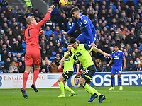 Football - 2018 / 2019 Premier League - Cardiff City vs. Huddersfield Town<br /> <br /> Jonas Lössl of Huddersfield Town punches clear as Sean Morrison Cardiff City challenges , at the Cardiff City Stadium.<br /> <br /> COLORSPORT/WINSTON BYNORTH