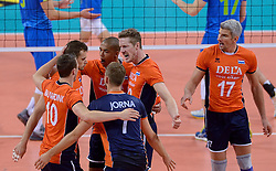 Dick Kooy #11, Nimir Abdelaziz #1, Kay van Dijk #12, Rob Bontje #17 during volleyball match between National teams of Netherlands and Slovenia in Playoff of 2015 CEV Volleyball European Championship - Men, on October 13, 2015 in Arena Armeec, Sofia, Bulgaria. Photo by Ronald Hoogendoorn / Sportida
