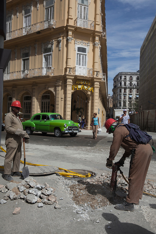 Constructions on the street at Old Havana, Cuba.
