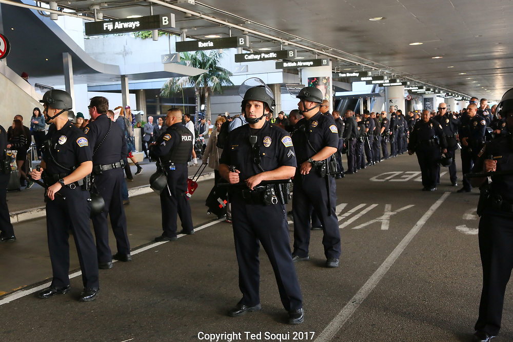 Demonstrations at LAX over Trump's Muslim travel ban in to the USA. Thousands of people from all over LA turned to overturn the ban and show support for people of the Muslim faith.