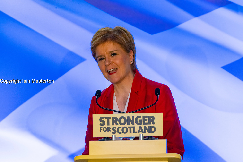 "Dundee, Scotland, UK. 20th November 2019. Nicola Sturgeon makes a keynote election speech in Dundee on the Tory threat to Scotland's services - warning Westminster is set to be ""engulfed by Brexit chaos for years to come"" underlining the urgent need for Scotland to be able to choose a better future with independence. Iain Masterton/Alamy Live News."