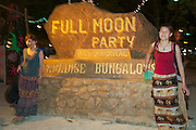 The notorious Full Moon Party at Hat Rin beach on the small Thai island of Ko Pha-Ngan is Asia's biggest regular rave event. Japanese visitors taking souvenir shots.