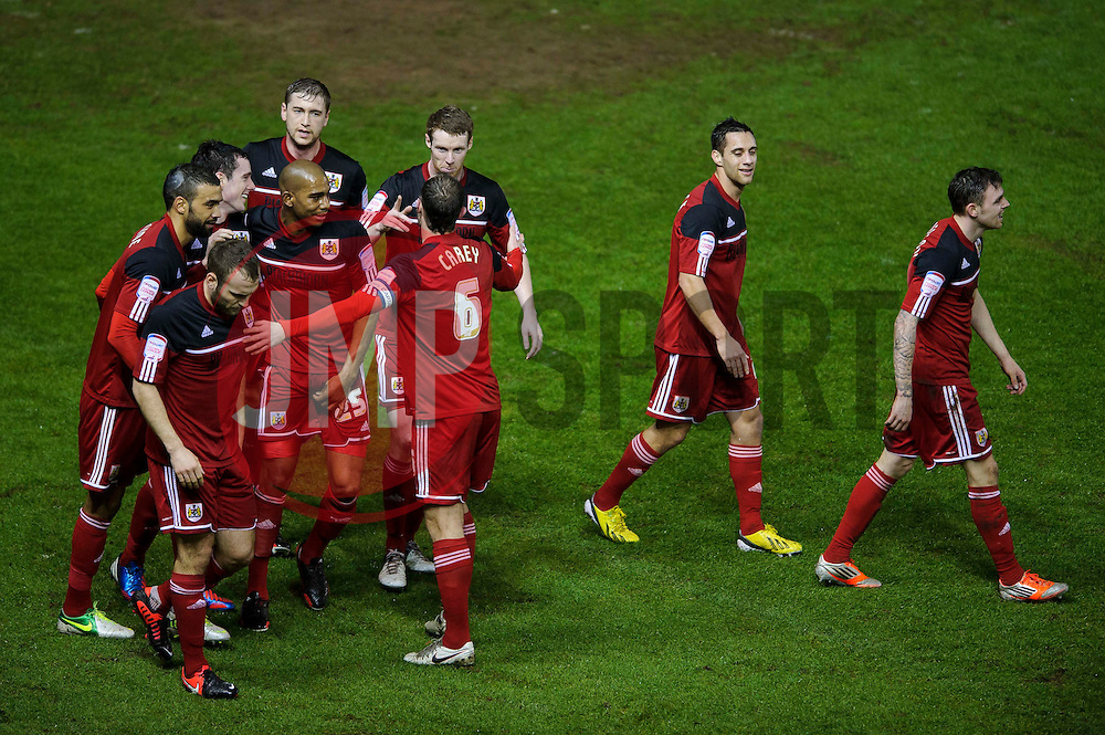 Bristol City Defender Greg Cunningham (IRL) (back left) celebrates with his teammates after scoring a goal during the first half of the match - Photo mandatory by-line: Rogan Thomson/JMP - Tel: Mobile: 07966 386802 29/01/2013 - SPORT - FOOTBALL - Ashton Gate - Bristol. Bristol City v Watford - npower Championship.