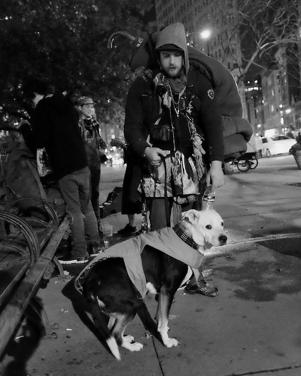 Young Man and his Dog exploring NYC