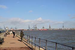 Harwich seafront, Essex, looking towards Felixstowe, UK