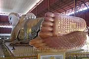 Myanmar, Yangon, reclining Buddha at the Kyauk Hitat Gyi Pagoda