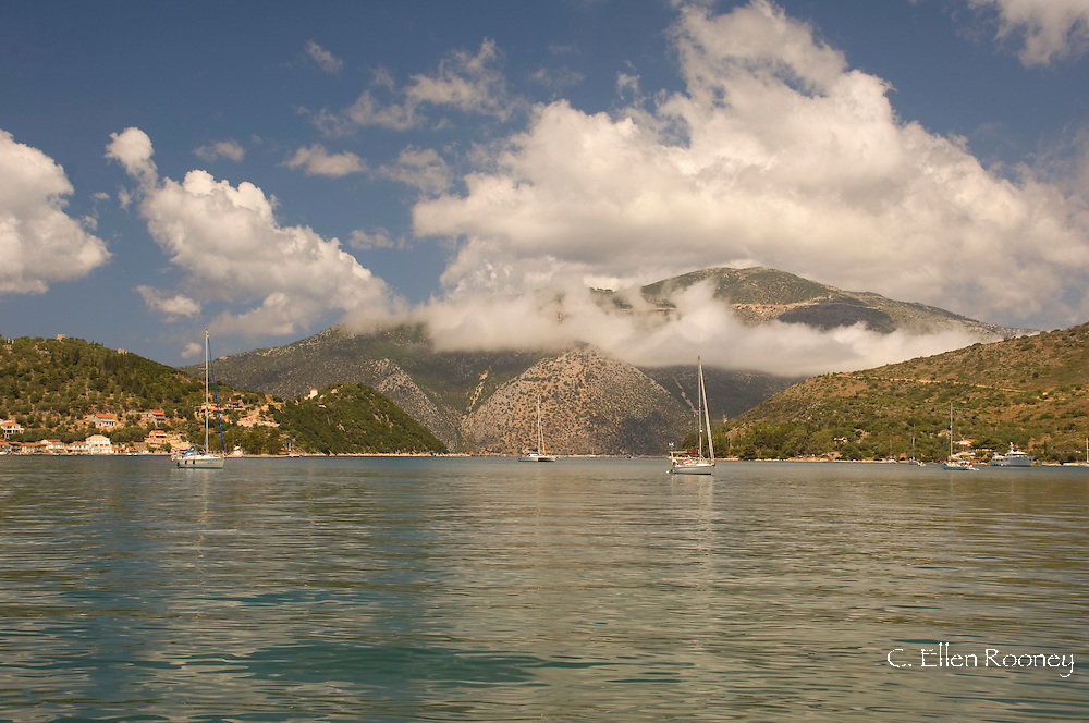 A clearing storm in the bay at Vathi, Ithaca, The Ionian Islands, Greece