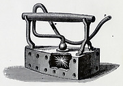 Gas-heated flat iron. Engraving 1884.