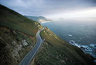 California, Route 1, Big Sur, Aerial, Sunset, Pacific Ocean, Big Sur is located 26 miles south of Carmel on the Central California Coast. Surrounded.by Ventana Wilderness Area and the Los Padres National Forest, These United States book page 132