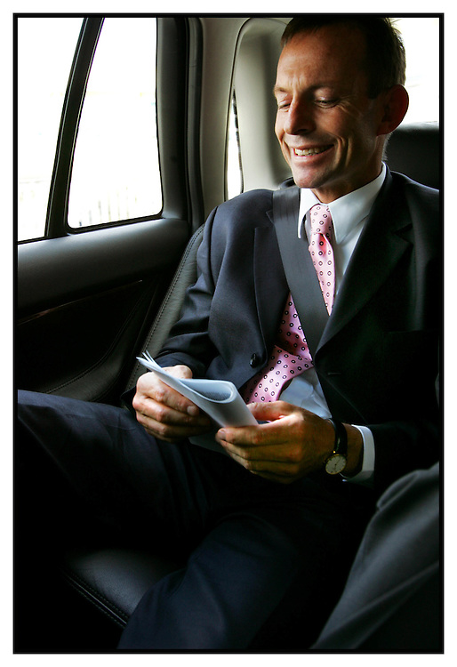 Health minister Tony Abbott on his way to tullamarine airport in a com car  Pic By Craig Sillitoe SPECIALX 000 melbourne photographers, commercial photographers, industrial photographers, corporate photographer, architectural photographers, This photograph can be used for non commercial uses with attribution. Credit: Craig Sillitoe Photography / http://www.csillitoe.com<br />