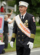 Salisbury Mills, New York - Parade marshall Rick Lewis, president.Orange County Volunteer Firemen's Association, leads fFire departments and bands down Route 94 during the (OCVFA) annual parade on Sept. 24, 2011.