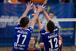 Dane Mijatovic and Darijo Savicic of Salonit at final match of Slovenian National Volleyball Championships between ACH Volley Bled and Salonit Anhovo, on April 24, 2010, in Radovljica, Slovenia. ACH Volley defeated Salonit 3rd time in 3 Rounds and became Slovenian National Champion.  (Photo by Vid Ponikvar / Sportida)