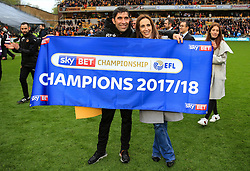 Free to use courtesy of Sky Bet - of Wolverhampton Wanderers coaches celebrate after lifting the Sky Bet Championship 2017/18 league trophy - Mandatory by-line: Matt McNulty/JMP - 28/04/2018 - FOOTBALL - Molineux - Wolverhampton, England - Wolverhampton Wanderers v Sheffield Wednesday - Sky Bet Championship