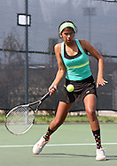 Iowa City West's Navya Mannengi lines up the ball for a return during the Class 2A state team tennis tournament at Veterans Memorial Tennis Center in Cedar Rapids on Saturday, June 1, 2013.