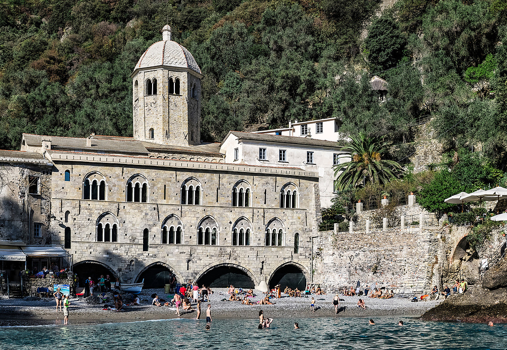 Coastal village and beach of San Fruttuoso, Liguria, Italy.
