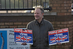 Tyneside BNP member demonstrating outside a trade union conference on racism UK 2008
