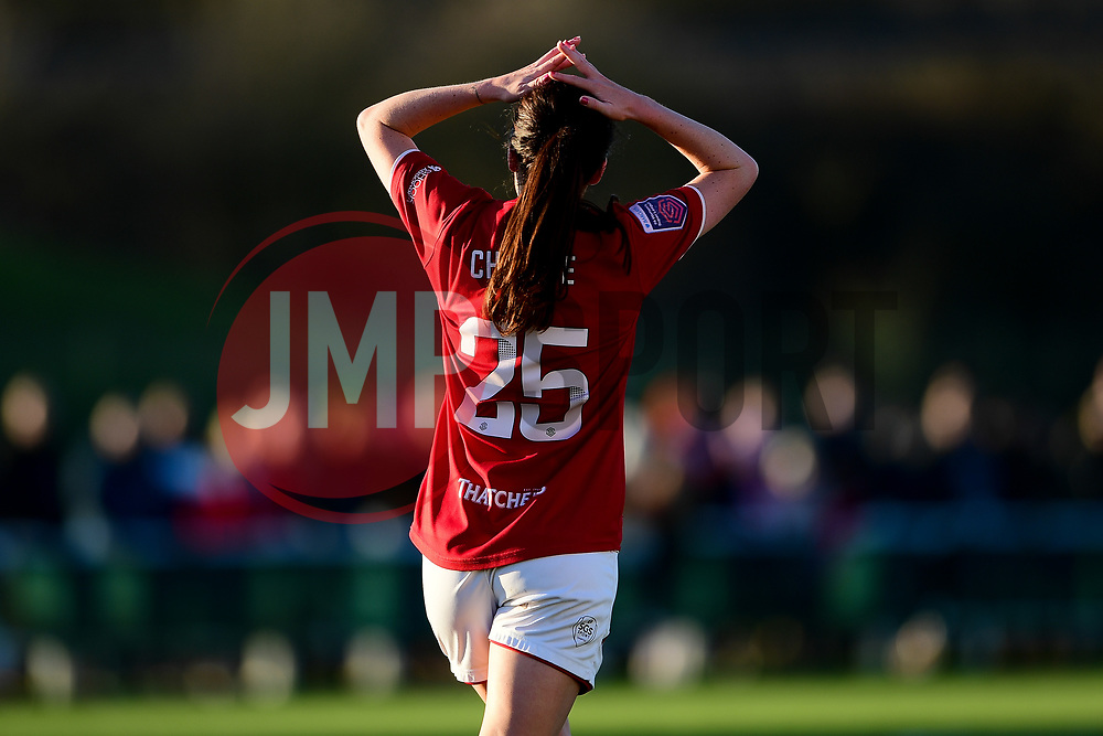 Olivia Chance of Bristol City rues a missed opportunity as her shot hits the woodwork - Mandatory by-line: Ryan Hiscott/JMP - 19/01/2020 - FOOTBALL - Stoke Gifford Stadium - Bristol, England - Bristol City Women v Liverpool Women - Barclays FA Women's Super League