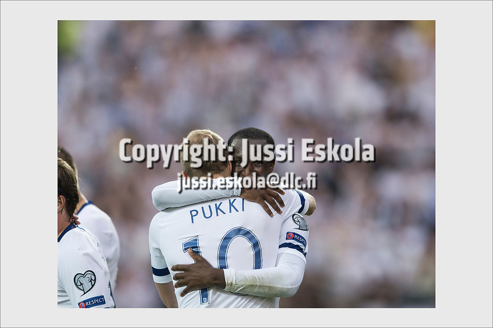Glen Kamara celebrating 1-0 goal with scorer Teemu Pukki. Finland - Bosnia-Herzegovina. Tampere, Finland, June 8, 2019.