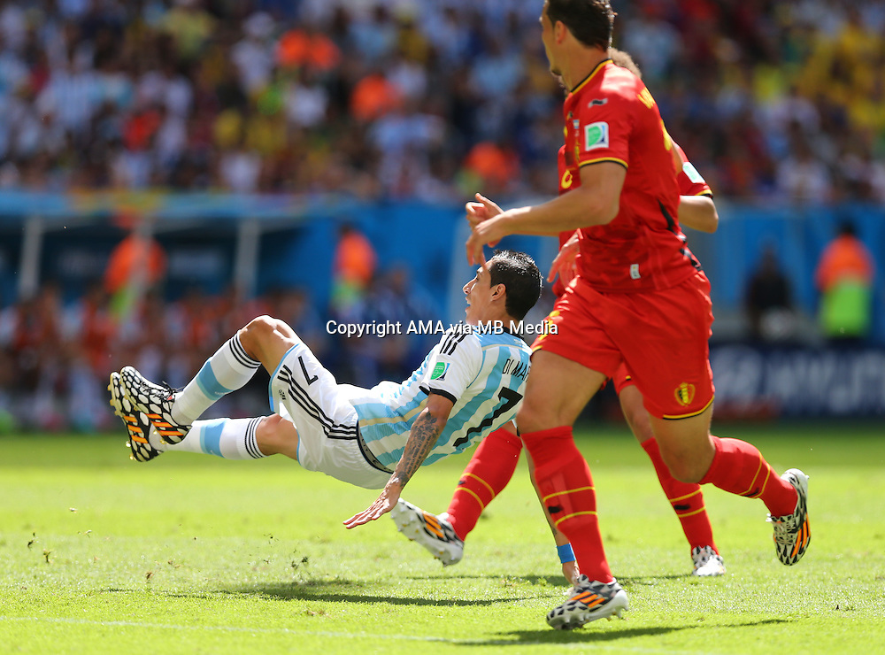 Angel Di Maria of Argentina falls onto his back before going off injured