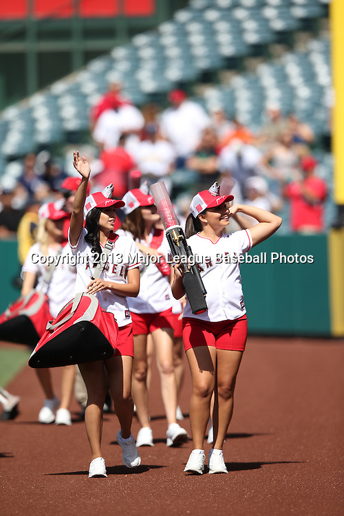 ANAHEIM, CA - JUNE 15:  The Los Angeles Angels of Anaheim Strike Force fires up the fans before the game against the New York Yankees on Saturday, June 15, 2013 at Angel Stadium in Anaheim, California. The Angels won the game 6-2. (Photo by Paul Spinelli/MLB Photos via Getty Images)