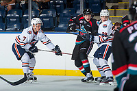 KELOWNA, CANADA - SEPTEMBER 5: Justin Sigrist #29 of the Kamloops Blazers checks Jack Cowell #8 of the Kelowna Rockets on September 5, 2017 at Prospera Place in Kelowna, British Columbia, Canada.  (Photo by Marissa Baecker/Shoot the Breeze)  *** Local Caption ***