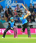 Laurie Evans of Sussex hits the ball over the boundary for six runs during the final of the Vitality T20 Finals Day 2018 match between Worcestershire Rapids and Sussex Sharks at Edgbaston, Birmingham, United Kingdom on 15 September 2018.