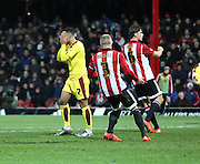 Burnley striker Andre Grey after missing a good chance during the Sky Bet Championship match between Brentford and Burnley at Griffin Park, London, England on 15 January 2016. Photo by Matthew Redman.