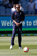 Stuart Broad warms up with the Football before the Magellan fourth test match between Australia v England at  the Melbourne Cricket Ground, Melbourne, Australia on 26 December 2017. Photo by Mark  Witte.