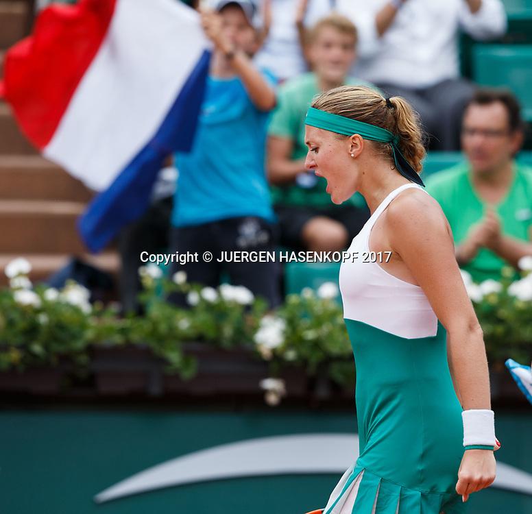 KRISTINA MLADENOVIC (FRA) jubelt,Jubel,Emotion, Freude,<br /> <br /> Tennis - French Open 2017 - Grand Slam / ATP / WTA / ITF -  Roland Garros - Paris -  - France  - 2 June 2017.