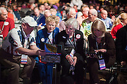 26 FEBRUARY 2011 - PHOENIX, AZ: People at the Tea Party Patriots American Policy Summit in Phoenix Saturday. The summit goes through Sunday Feb. 27. About 2,000 people are attending the event, which organizers said is meant to unite Tea Party groups across the country. Speakers include former Minnesota Governor Tim Pawlenty, Texas Congressman Ron Paul, former Clinton advisor Dick Morris and conservative blogger Andrew Brietbart. The event ends with a presidential straw poll Sunday.   Photo by Jack Kurtz