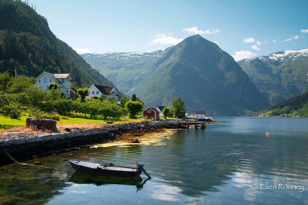 A view from Balestrand of Sogne Fjord and surrounding snowy peaks.  Vestland, Norway