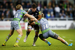 Jono Ross of Sale Sharks takes on Alex Tait of Newcastle Falcons - Mandatory by-line: Matt McNulty/JMP - 08/09/2017 - RUGBY - AJ Bell Stadium - Sale, England - Sale Sharks v Newcastle Falcons - Aviva Premiership