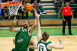 Robert Rothbart of Union Olimpija vs Zoran Dragic of Krka during basketball match between KK Krka and Union Olimpija Ljubljana of Round 7th of ABA League 2011/2012, on November 12, 2011 in Arena Leon Stukelj, Novo mesto, Slovenia. (Photo By Vid Ponikvar / Sportida.com)