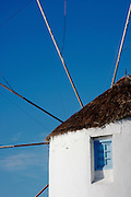 Santorini, Greece, close up of a thatch roof Windmill