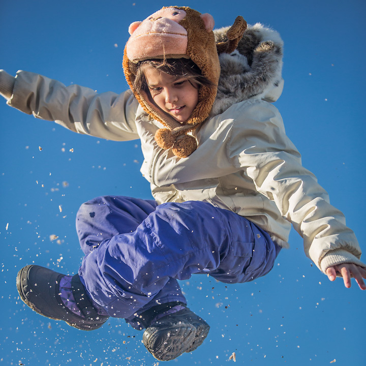 Eight year old Diane at the Rondy Blanket Toss, Anchorage's Winter Carnival  linogelordjared@yahoo.com  (Dad: Raven)