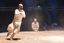 © Licensed to London News Pictures. 11/01/2016. London, UK. Khan's debut performance at the Roundhouse, Until the Lions is inspired by the ancient Sanskrit epic The Mahabharata and combines the Indian dance form Kathak with contemporary dance to explore themes of gender and sexuality. Featuring dancer\choreographer Akram Khan. Photo credit : Tony Nandi/LNP