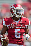 FAYETTEVILLE, AR - SEPTEMBER 5:  Henre' Toliver #5 of the Arkansas Razorbacks warming up before a game against the UTEP Miners at Razorback Stadium on September 5, 2015 in Fayetteville, Arkansas.  The Razorbacks defeated the Miners 48-13.  (Photo by Wesley Hitt/Getty Images) *** Local Caption *** Henre' Toliver