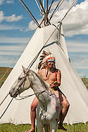 Battle of the Little Bighorn Reenactment,<br /> Custers Last Stand, Crow Indian Reservation, Montana, warrior