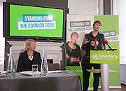 © Licensed to London News Pictures. 24/02/2015. London, UK. (L-R) Natalie Bennet, Leader of the Green Party, Caroline Lucas, MP for Brighton Pavillion.  The Green Party Campaign Launch ahead of the UK general election at RSA House in Central London today 24th February 2015. Photo credit : Stephen Simpson/LNP